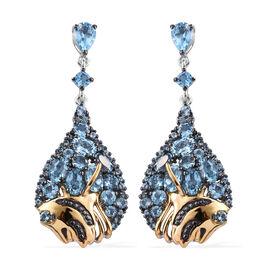 GP Swiss Blue Topaz (Rnd and Ovl), Kanchanaburi Blue Sapphire Earrings (with Push Back) in Platinum,