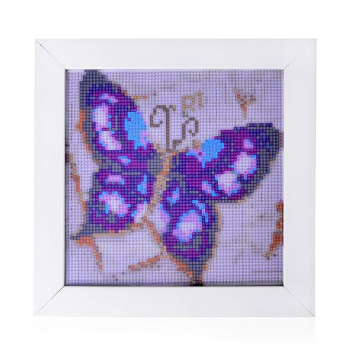 (Option 1) Home Decor - Butterfly Pattern Painting Kit with Multi Colour Crystals (Size 24X24 Cm)