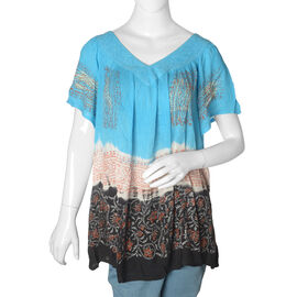 Blue and Multi Colour Floral Pattern Top (Free Size)