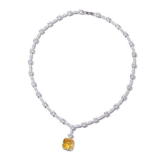 Lustro Stella Simulated Yellow Diamond (Cush) and Simulated Diamond Necklace (Size 18.25) in Rhodium