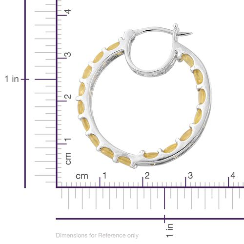 Natural Canary Opal (Ovl) Hoop Earrings (with Clasp) in Platinum Overlay Sterling Silver 4.000 Ct.