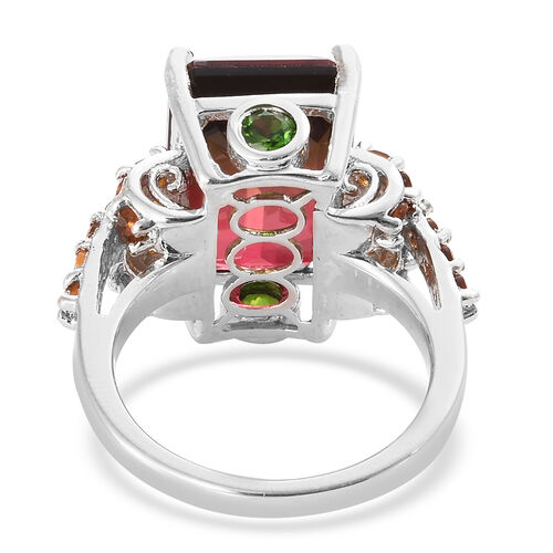 Finch Quartz (Oct 14x10 mm), Madeira Citrine and Russian Diopside Ring in Platinum Overlay Sterling Silver 9.750 Ct