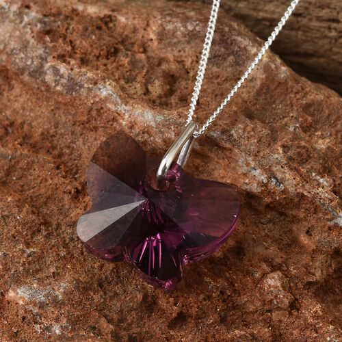 J Francis Crystal From Swarovski - Amethyst Colour Crystal Pendant with Chain (Size 18) in Sterling Silver