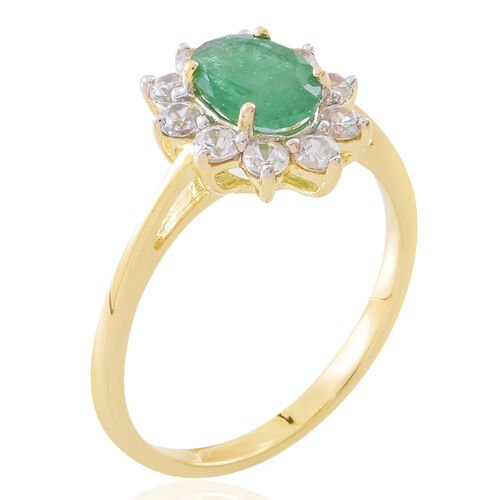 Limited Edition- 9K Yellow Gold AA Rare Size Kagem Zambian Emerald (Ovl) Natural White Cambodian Zircon Floral Ring 2.250 Ct.