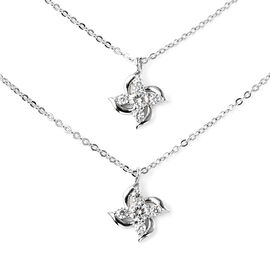 Simulated Diamond  Necklace (Size - 16 with 1.5 inch Extender) in Rhodium Overlay Sterling Silver 0.