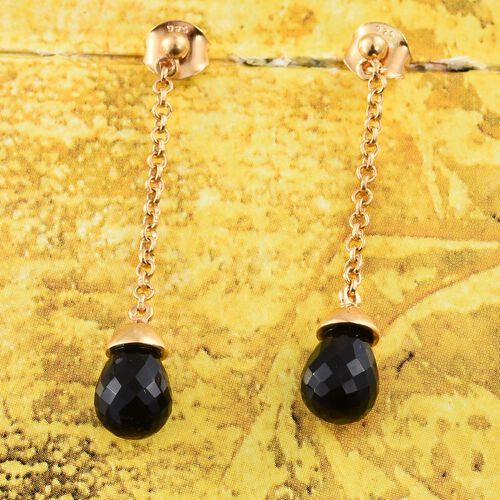 Black Onyx Earrings (with Push Back) in 14K Gold Overlay Sterling Silver 5.750 Ct.