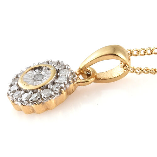 Diamond (Rnd) Ring, Earrings (With Push Back) and Pendant With Chain Set in 14K Gold Overlay Sterling Silver 0.330 Ct, Silver wt 5.40 Gms.