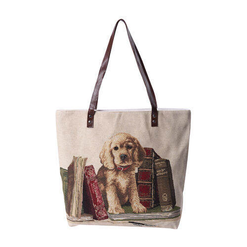 Lovely Dog Pattern Large Tote Bag (Size 35x11x39 Cm) - Beige