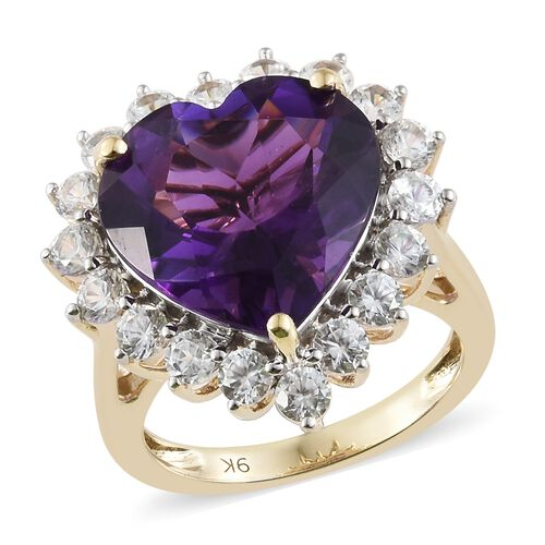 Super Auction- 9K Yellow Gold AAA Extremely Rare Cut Zambian Amethyst (Hrt 8.00 Ct), Natural Cambodian Zircon Heart Ring 10.00 Ct.