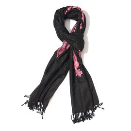 Paisley Pattern Embroidered Black Colour Woolen Shawl (Size 70x200 Cm)