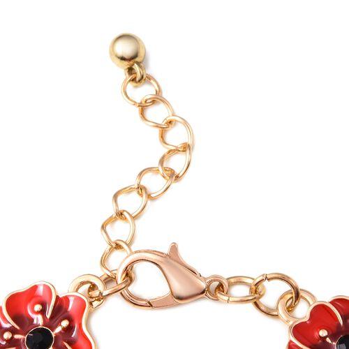 TJC Poppy Design Red and Black Enamelled Poppy Flower Gold Tone Bracelet (Size 7 with 1 Inch Extender)