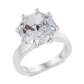 J Francis - Crystal from Swarovski White Colour Crystal (Rnd 11.5 mm) Solitaire Ring (Size M) in Sterling Sil