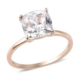 J Francis - 9K Yellow Gold Solitaire Ring Made with SWAROVSKI ZIRCONIA 4.50 Ct.