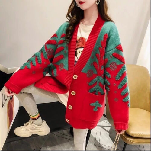 Kris Ana Wool & Cashmere Mix Christmas Cardigan One Size (8-16)  - Red