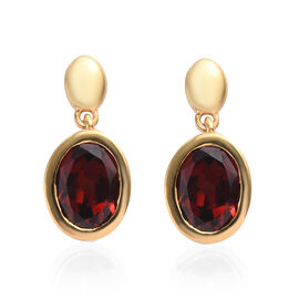 Mozambique Garnet (Ovl 8x6mm) Drop Earrings (with Push Back) in 14K Gold Overlay Sterling Silver 2.5