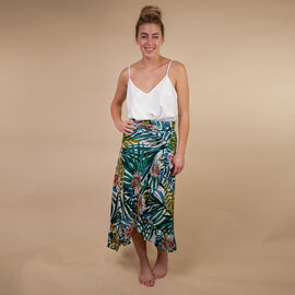 TAMSY Floral Printed Wrap Skirt - Green