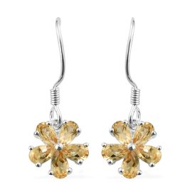 Citrine (Pear) Flower Hook Earrings in Sterling Silver 2.000 Ct
