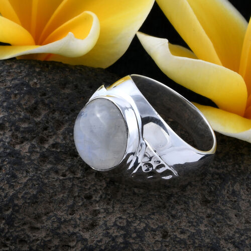 Bali Legacy Collection - Rainbow Moonstone (Rnd) Ring in Sterling Silver 11.200 Ct.