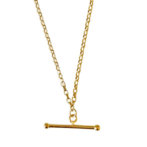 Hatton Garden Close Out Deal - 9K Yellow Gold T-Bar Necklace (Size 17)