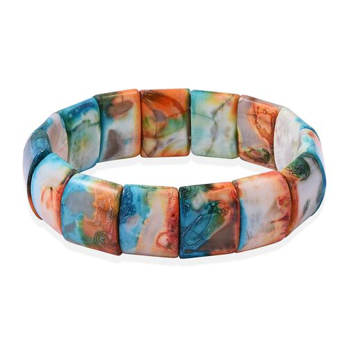 Orange, Green and Multi Colour Agate (Cush) Stretchable Bracelet (Size 7.5)  330.500 Ct