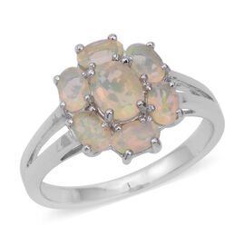 1.35 Ct Ethiopian Opal Floral Ring in Sterling Silver