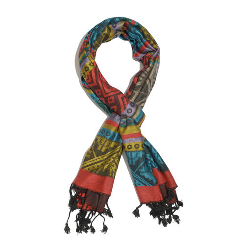 Close Out Deal- Green, Red and Multi Colour Jacquard Pattern Scarf with Tassels (Size 190x70 Cm)