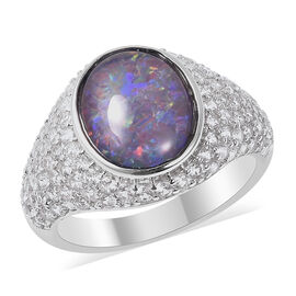 Boulder Opal (Ovl 11x9mm), Natural Cambodian Zircon Ring in Rhodium Overlay Sterling Silver
