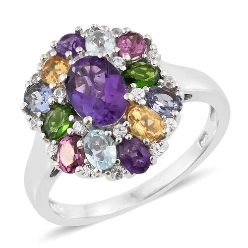 Amethyst (Ovl 1.15 Ct), Sky Blue Topaz, Rhodolite Garnet, Russian Diopside and Multi Gemstone Ring in Platinum Overlay Sterling Silver 3.750 Ct.