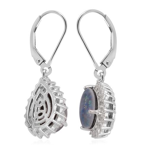 Australian Boulder Opal (Pear), Natural White Cambodian Zircon Lever Back Earrings in Platinum Overlay Sterling Silver