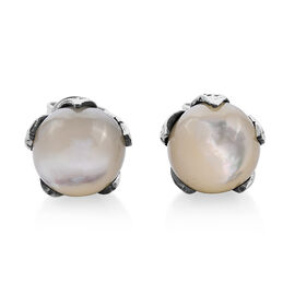 Royal Bali Mother of Pearl Soliatire Stud Earrings in Sterling Silver