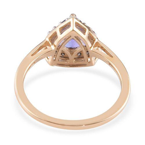 9K Yellow Gold AAA Tanzanite and Diamond (I3/G-H) Ring 1.50 Ct.