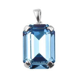 J Francis - Crystal from Swarovski  Aquamarine Colour Crystal (Oct 18x13 mm) Sterling Silver Pendant