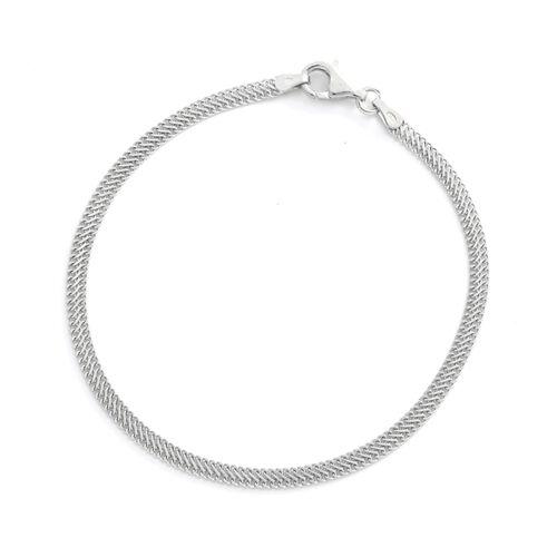 Viale Argento Rhodium Overlay Sterling Silver Herringbone Infinity Bracelet (Size 8)