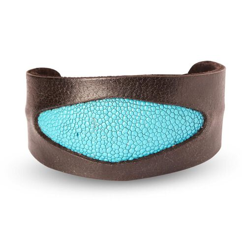 Black and Turquoise Stingray Leather Bangle (Size 7)