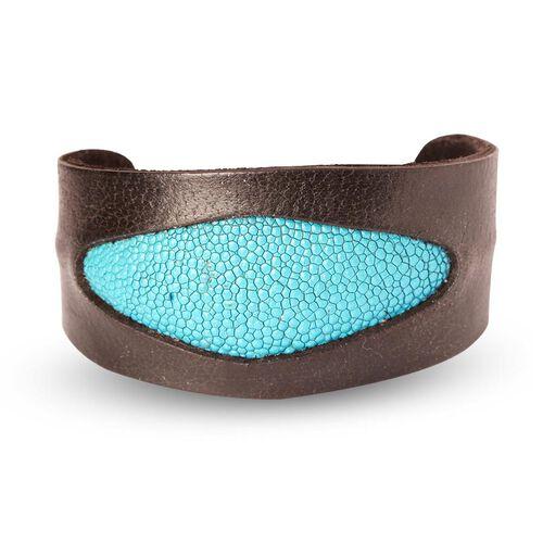 Black and Turquoise Stingray Leather Bangle (Size 7)