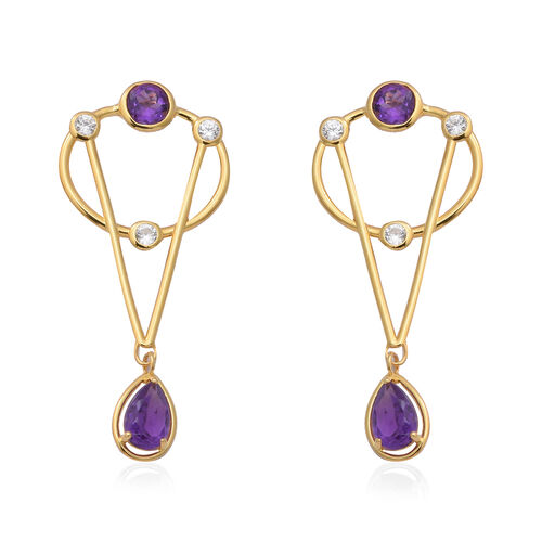 Lusaka Amethyst and Natural Cambodian Zircon Earrings (with Push Back) in Yellow Gold Overlay Sterli