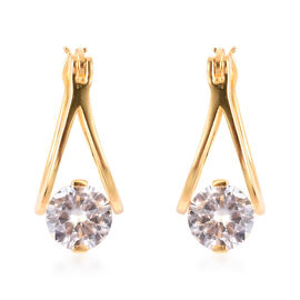 ELANZA Simulated Diamond Drop Floral Earrings in Gold Plated Sterling Silver