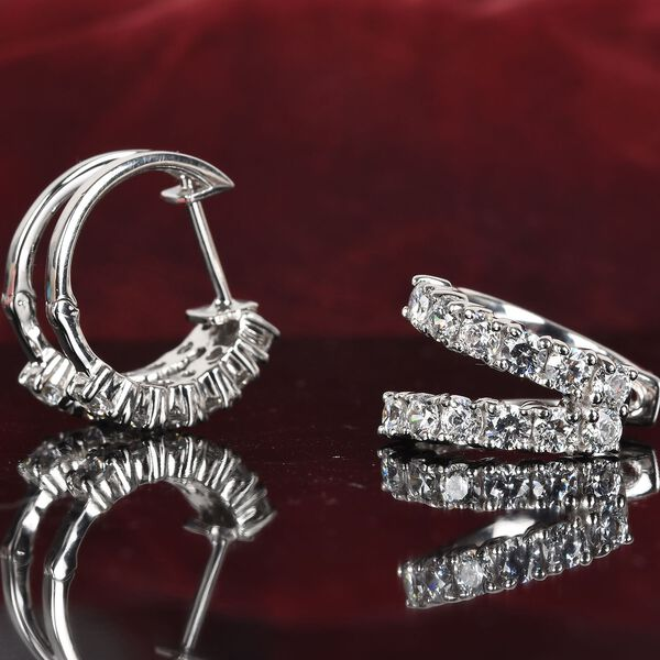 J Francis Platinum Overlay Sterling Silver Made with SWAROVSKI ZIRCONIA Hoop Earrings (with Clasp) 2.75 Ct, Silver wt. 6.50 Gms