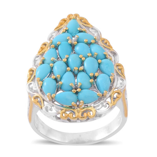 Close Out Deal - Arizona Sleeping Beauty Turquoise (Pear) Ring in Rhodium and Yellow Gold Overlay Sterling Silver 3.000 Ct. Silver wt. 7.80 Gms.