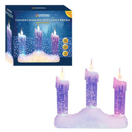 3 LED Colour Changing Water and Glitter Candle Bridge