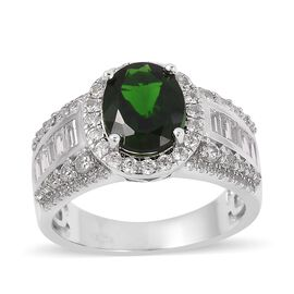 Russian Diopside and Natural Cambodian Zircon Ring in Rhodium Plated Sterling Silver 4.605 Ct