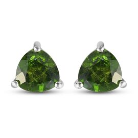 Russian Diopside Solitaire Stud Push Post Earring in Platinum Overlay Sterling Silver 1.45 ct  1.450