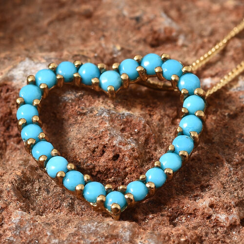 Arizona Sleeping Beauty Turquoise (Rnd) Heart Pendant with Chain (Size 20) in 14K Gold Overlay Sterling Silver 1.000  Ct.