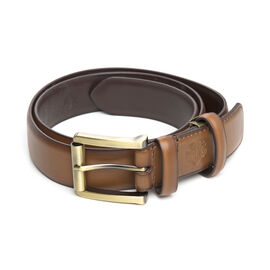 William Hunt - Traditional Buckle Leather Belt (Size 34 Inches) - Chestnut Brown