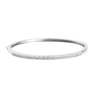 Diamond (Rnd) Bangle (Size 7.5) in Platinum Overlay Sterling Silver   0.73 Ct, Silver wt 13.73 Gms,