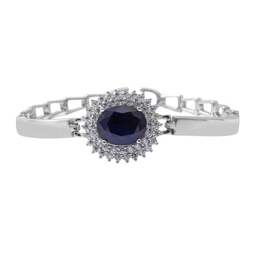 One Time Close Out Deal - Blue Sapphire (Very Rare Size Ovl 12x10 mm), Cubic Zircon  Cuff Bracelet (