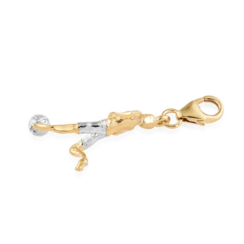 Yellow Gold and Platinum Overlay Sterling Silver Footballer Charm