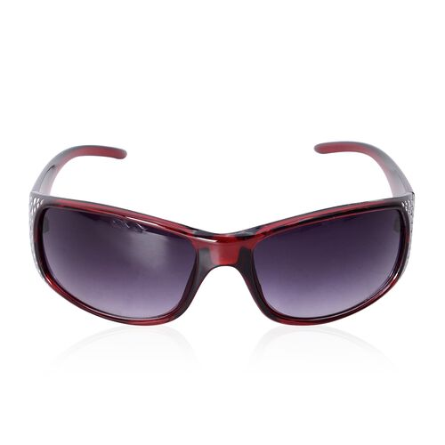 Shiny Wine Frame Sunglasses with Bling Crystals and UV Protection Lenses Including Hard Plastic Blac