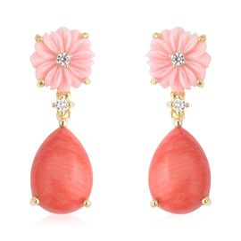 Living Coral (Pear 14x10 mm), Pink Mother of Pearl and Natural White Cambodian Zircon Earrings (with