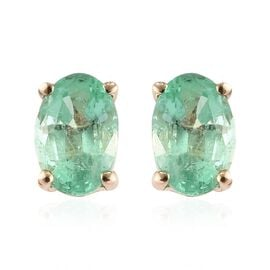 0.85 Ct Boyaca Colombian Emerald Solitaire Stud Earrings in 9K Gold